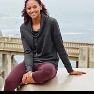 Athleta Heathered grey cowl neck sweater